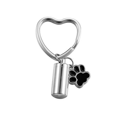 Valyria Edelstahl Schlüsselanhänger Zylindrische Flasche PET/Hund Pfote Urne Charm Verbrennung Andenken Asche