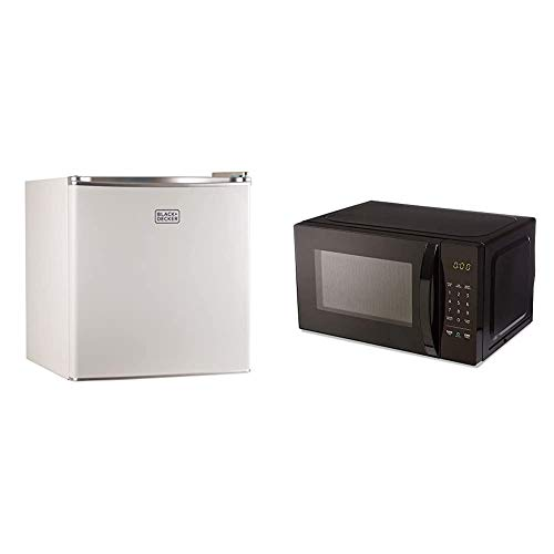 BLACK+DECKER BCRK17W Compact Refrigerator Energy Star Single Door Mini Fridge with Freezer, 1.7 Cubic Ft, White & AmazonBasics Microwave, Small, 0.7 Cu. Ft, 700W, Compatible with Alexa