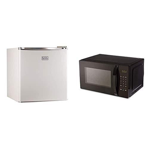 BLACK+DECKER BCRK17W Compact Refrigerator Energy Star Single Door Mini Fridge with Freezer, 1.7 Cubic Ft, White & AmazonBasics Microwave, Small, 0.7 Cu. Ft, 700W, Works with Alexa