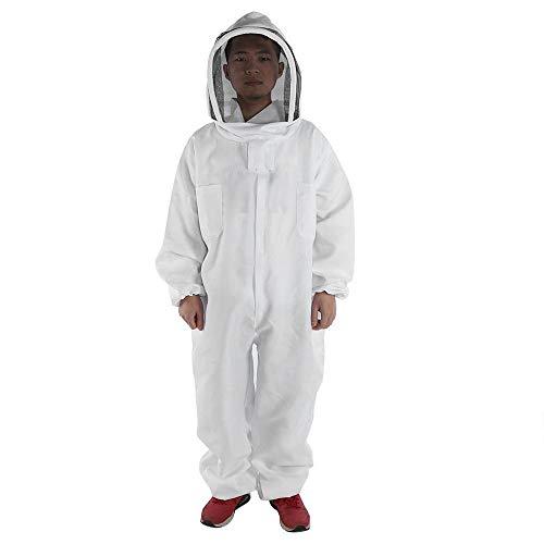 Guoyajf Tuta da Apicoltore Professionale, Tuta da Apicoltore in Cotone Bianco Protettivo da Apicoltore,XL