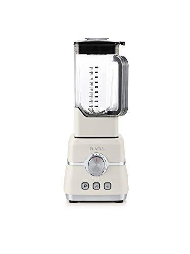Flama Batidora de Vaso Pro Beige, 2000W, 32000 RPM, 6 Láminas de Alto Rendimiento, Vaso de Tritan, Capacidad de 2L, Función Pulse, Pica Hielo y Batidos, Sin BPA, Regulación de Velocidad Continua