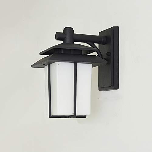Vierkante buitenwandlamp outdoor wandlamp, van aluminium glas lampenkap, wandlamp waterdicht IP44 E27, buitenverlichting voor buitenwand terras balkon ingang deur, zwart 19 x 23 x 29 cm