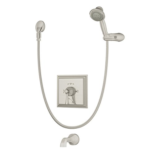 Symmons Canterbury s-4504-STN Tub and Shower System with Lever Handle, Satin Nickel