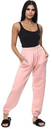 ZJ Clothes Womens Fleece Casual Oversized Jogging Joggers Tracksuit Bottoms Ladies Jog Pants Size XS S/M M/L (6-8, Pink)