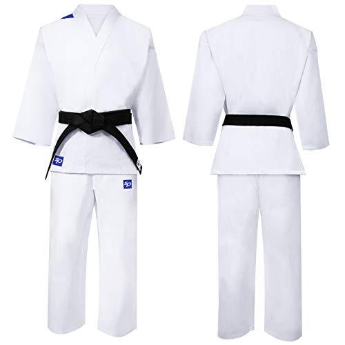 Starpro Tuta Kimono Karate in Cotone Bianco. Uniforme Professionale in Tessuto da Allenamento, Arti Marziali, MMA, Karate, Taekwondo - Uomini, Donne e Bambini - 110-190 cm - Cintura Bianca Gratuita