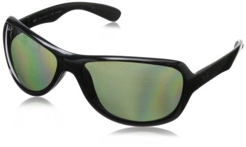 Ray-Ban RB4189 Wrap Sunglasses, Black/Green Polarized, 64 mm