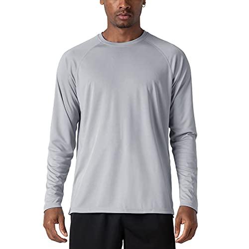 KEFITEVD Herren Funktionsshirt UPF 50+ UV Schutz Langarm Rash Guard T-Shirt Segeln Kanu Outdoor Schutzkleidung Board Surfen Freizeit Shirt Atmungsaktiv Grau XL