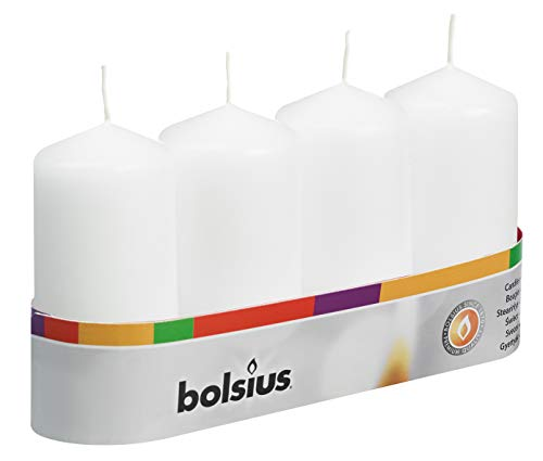 Bolsius Pillar Candles (100/50), White (Tray of 4)