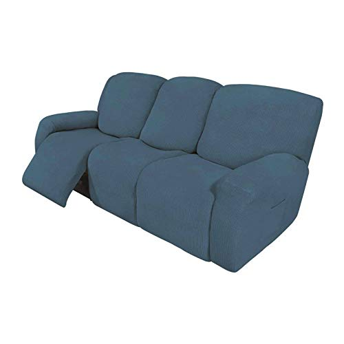 HUANXA 2 3 seater Recliner Slipcover, Stretch Reclining Sofa Cover Spandex Furniture Protector Couch Covers With Elastic Bottom-blue-Sofa (8 PCS)