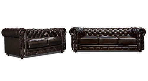 ConfortoPiel Sala de de Piel Genuina 100% Chesterfield Sofá y Love Seat (Chocolate Grasso)