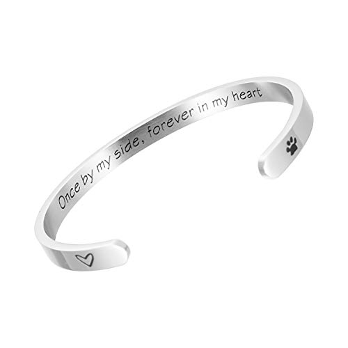 Raysunfook Once by My Side Forever in My Heart Pet Sympathy Gift Bracelet Pet Remembrance Jewelry Dog Memorial Cuff Loss of Pet Gifts