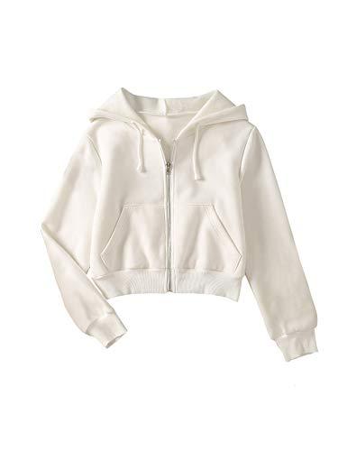 SheIn Women's Crop Zip Up Hoodie Pocket Drawstring Basic Zipper Hooded Sweatshirt Pure White Medium