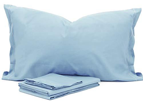 RP Juego de sábanas para Cuna Montessori de Color Liso para niña – 100% algodón Made in Italy Azul