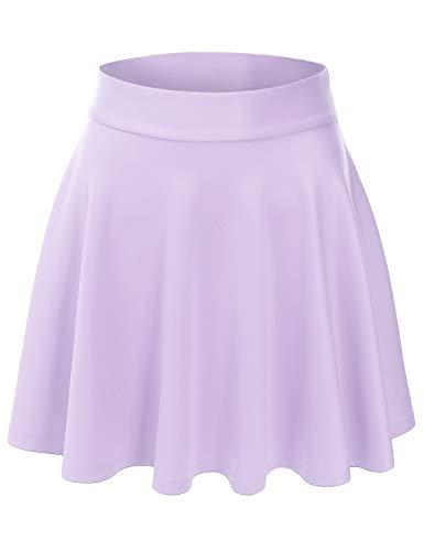EIMIN Women's Versatile Elastic Stretchy Flared Casual Mini Skater Skirt Lavender 1XL