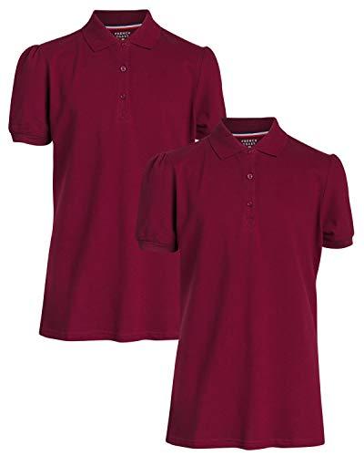 French Toast Junior Girls' Piqué Weave Short Sleeve Stretch Polo Shirts (2 Pack), Burgundy, Size Medium'