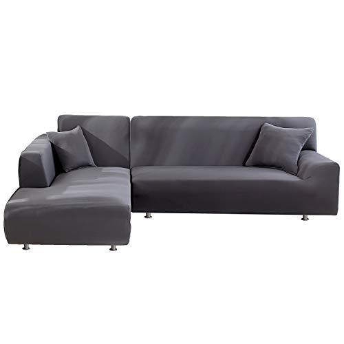 HUAFA Sofa Überwürfe 2 Stück Elastische Stretch Sofabezüge für L-Form Sofa Abdeckung Sofabezüge aus Polyestergewebe 3 Sitzer +3 Sitzer mit 2 Stück Kissenbezügen (Grau)