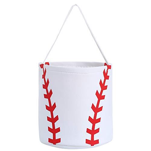 E-FirstFeeling Baseball Basket Halloween Basket Halloween Trick or Treat Bag for Kids Candy Gift Bucket Tote (Baseball)