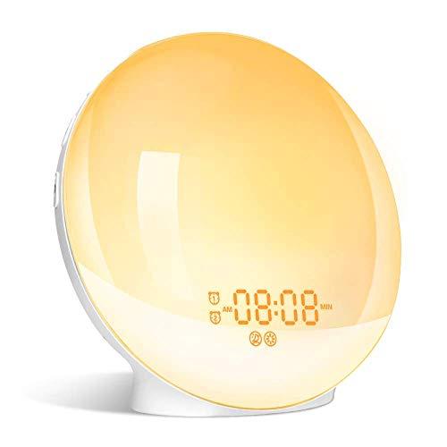 Wake up Light Luce Sveglia da Comodino con Simulazione dell'Alba e Tramonto Sveglia con FM Radio Funzione snooze, 20 Livelli di Luminosità e 7 Colori Luce Sveglia Digitale per Luce Notturna