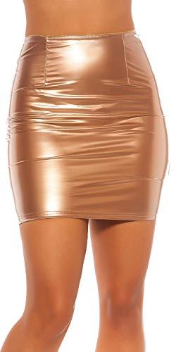 Koucla Wetlook - Minifalda con Aspecto de Piel