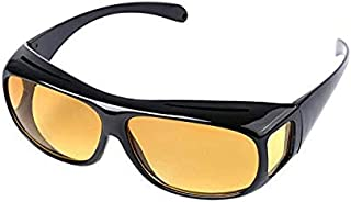 Unisex HD Night Vision Driving Sunglasses Lens Over Wrap Around Glasses