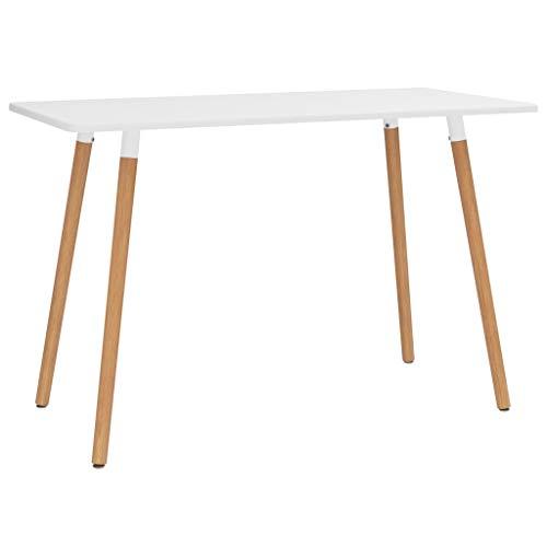 Dioche Mesa de comedor cuadrada de madera de haya, con 4 patas, 120 x 60 x 75 cm, estilo elegante