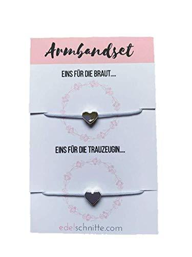 Edelschnitte Armbandset Braut & Trauzeugin Grau Silber Freundschaftsarmbänder Hochzeit Braut...
