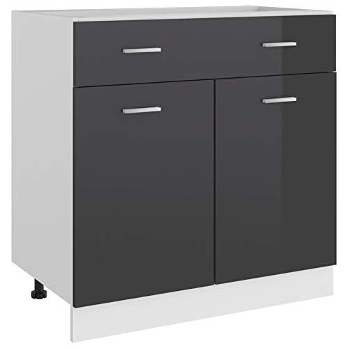 Tidyard Küchenschrank mit Schublade und 2 Regalböden Küche Schrank Küchenzeile Küchenmöbel Küchenunterschrank Unterschrank Spanplatte, Hochglanz-Grau 80 x 46 x 81,5 cm