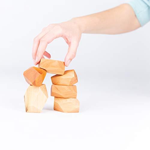 TRAUMHOLZIG Meditations-Balancier Steine (6 teilig) Waldorf Natur Bio Spielzeug | Heilpädagogisches Spielzeug zur Entspannung und Konzentration, handgemacht aus hochwertigem Holz (Natur)