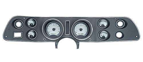 Dakota Digitl 70 - 81 Chevy Camaro VHX System Analog Dash Gauges Silver Alloy White VHX-70C-CAM-S-W