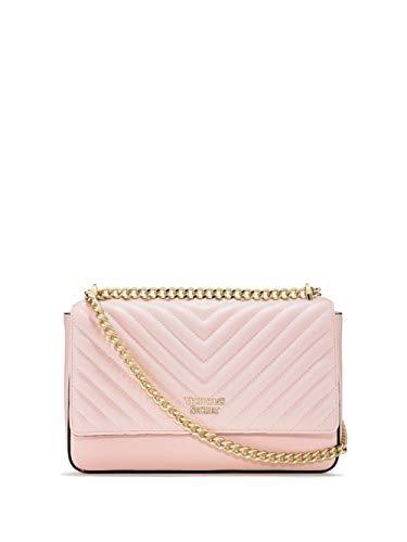 VS Victoria`s Secret - Bond Street Schultertasche in Kieselsteinoptik mit V-Steppung - rosa