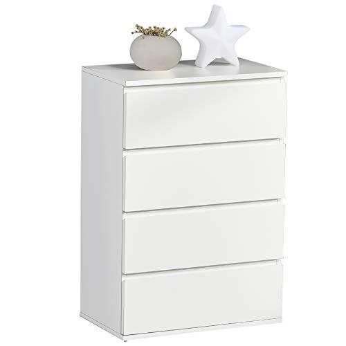 HOMCOM Schubladenschrank Büroschrank mit 4 Schubladen, abnehmbar, Grifflose, kugelgelagerte Führungen mit kippsicheren Zuglaschen, weiß, E1 Spanplatte, 55x33x80 cm