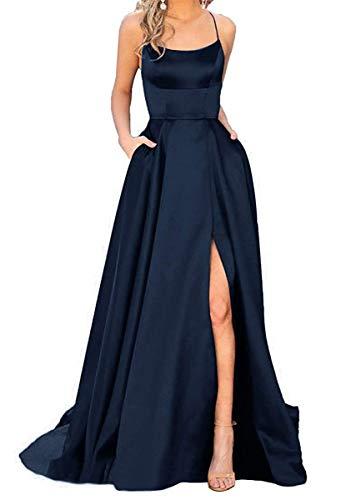W&TT Damen Spaghetti Satin Lange Ballkleider Rückenfreies Abend Brautjungfer Pageant Kleid mit Taschen,Navy,US8