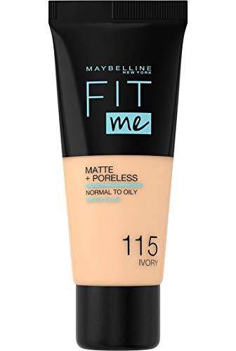 avis fond de teint matifiant professionnel Maybelline New York – Fond de teint fluide Fit Me Matte & Poreless – Peaux normales à grasses -…