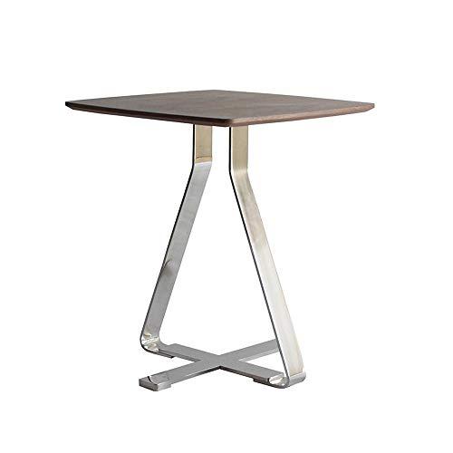 Jcnfa-Tische Nussbaum/Edelstahl X Säulentische Quadratischer Beistelltisch/Beistelltisch/Nachttisch/Couchtisch, Braun (Color : Brown, Size : 17.32 * 17.32 * 19.88in)