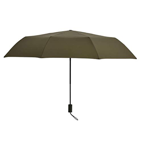 DFSDG Folding Umbrella Rain Women Simple 8 Ribs Windproof Golf Umbrella Men Pongee Cloth Umbrella Manual (Color : Green)