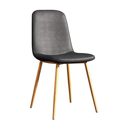 LSRRYD Nordic eetkamerstoelen, bureaustoel, gevoerde zitting, comfortabele zitting, van PU-leer, met kruk voor bureaustoel, robuust, met metalen poten grijs.