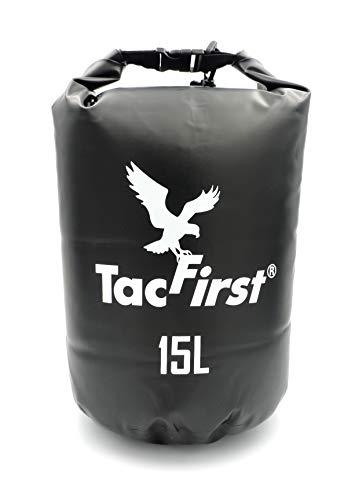 TacFirst Dry Bag Seesack, wasserdichter Packsack mit Fast-Fold Verschluss, 15 Liter, 15L Panther (Schwarz)