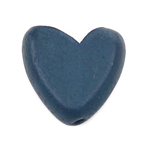 SiAura Material - 20 cuentas de madera azul oscuro de 15 x 15 mm con agujero de 1,8 mm I Forma de corazón plana I para manualidades, enhebrar y pintar.