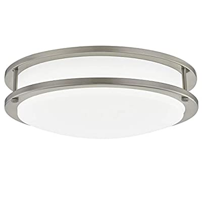 Gruenlich LED Flush Mount Ceiling Lighting Fixture, 11 Inch Dimmable 19W (125W Replacement) 1220 Lumen, Metal Housing with Nickel Finish, ETL and Damp Location Rated (5000K-Daylight White)