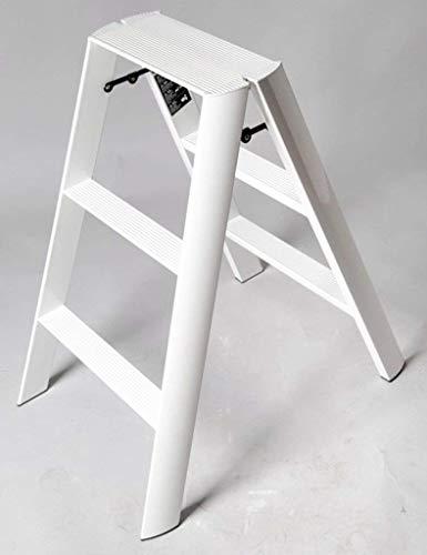 Taburete AISHANG 3 pasos aleación de aluminio, portátil, con estera antideslizante (color: blanco)