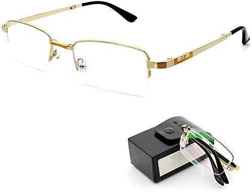YOUFUDE Gafas de lectura compactas de metal, plegables, lentes de medio marco, para hombres y mujeres, lectores de aumento de visión con funda, gafas (tamaño : 2,5x)