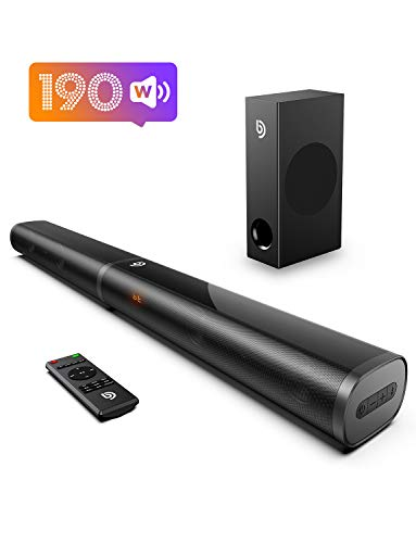 Soundbar, Bomaker 32 Inch 190W TV Sound bar with 5.25 Inch Subwoofer, 125dB, Customized Bass+, Wireless Bluetooth 5.0, 6 EQ Modes, Game Movie & 3D, For Outdoor Activities, Remote Control, 3.5mm RCA cable, Optical Cable Included
