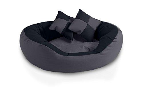 BedDog® 4in1 Hundebett SABA, Wende-Hunde-Kissen oval-rund, großes Hundekörbchen, abwischbares Hundebett mit Rand, für drinnen, draußen, L, Rock-Flow, anthrazit-grau
