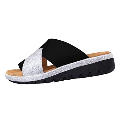 ZARLLE Sandalias Y Zapatillas De Rayas Moda para Mujer Color sólido Arco Cuñas Zapatilla Sandalias de Punta Abierta Gatito Tacones Zapatos Punta Abierta Zapatillas De Playa