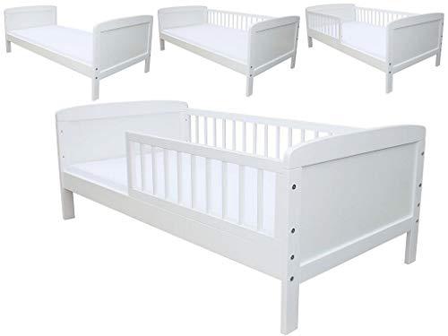 Kinderbett Juniorbett 160x70 cm mit Matratze umbaubar weiss