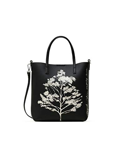 Desigual PU Shopping Bag, Borsa shoppering Donna, Nero, U