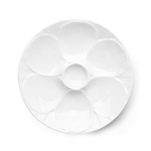 Holst Porzellan PLA 023 Austernteller 23 cm für 6 Austern, weiß, 23 x 23 x 3 cm