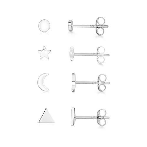 4 Pairs sterling silver Stud Earrings Cute Earrings sets for Women Star Moon Ball Heart Clear Studs earrings for Teens Girls (3/4/5/6mm)