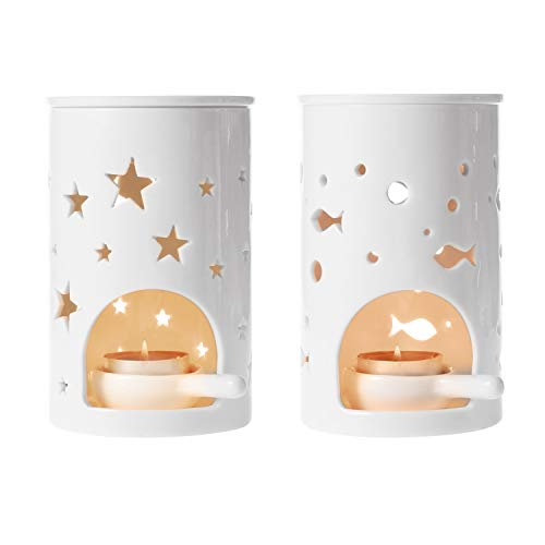 ComSaf Aromadispenser en kandelaar, bloemenvorm, aromalamp, candle lepel, rookaccessoires, geurlampen, geglazuurde etherische olie, brander, aroma, lamp, diffuser, romantisch