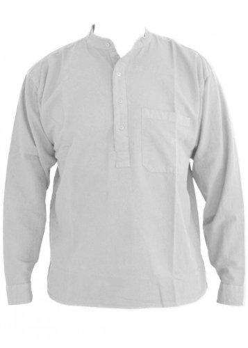 Blanc papy col chemise en coton taille petite à 2XL 2XL
